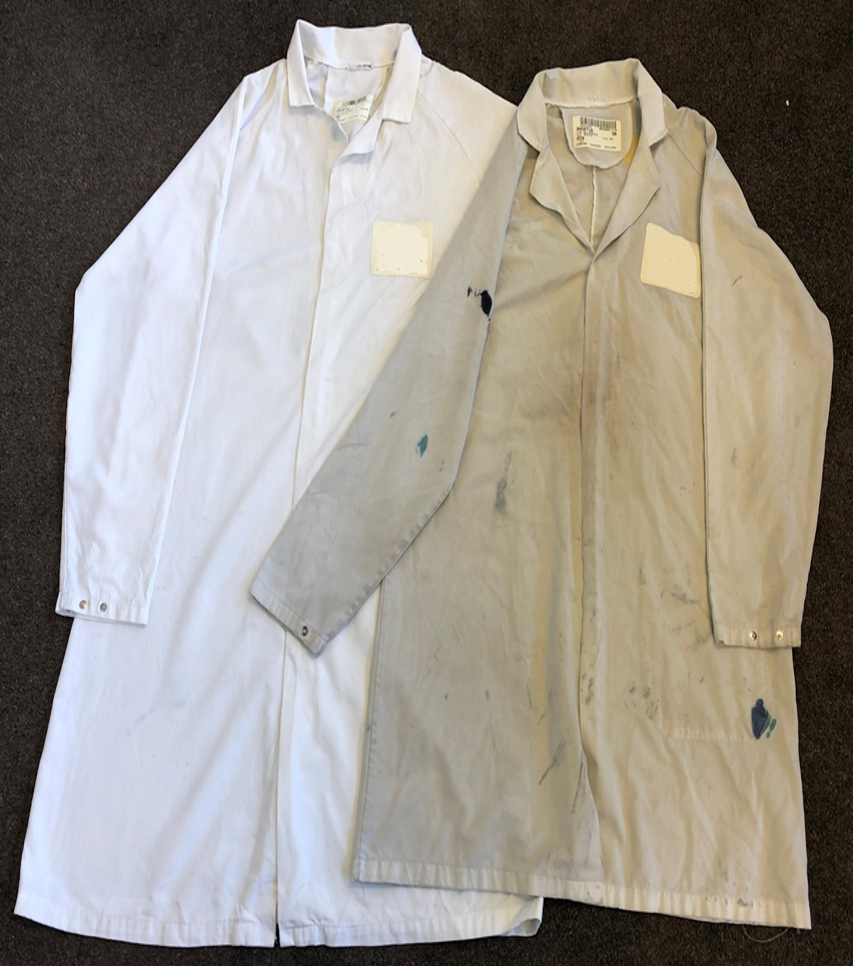 Company H had an issue with chemical stained laboratory coats